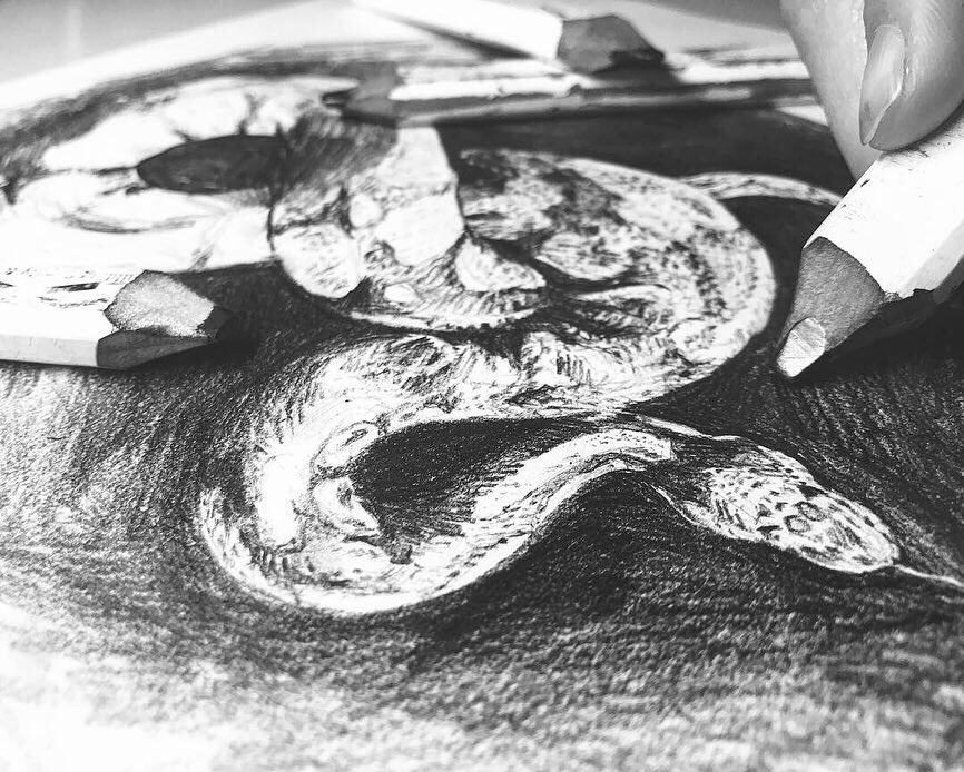 Black and white, snake WIP sketch. My pencil and finger peeking in.