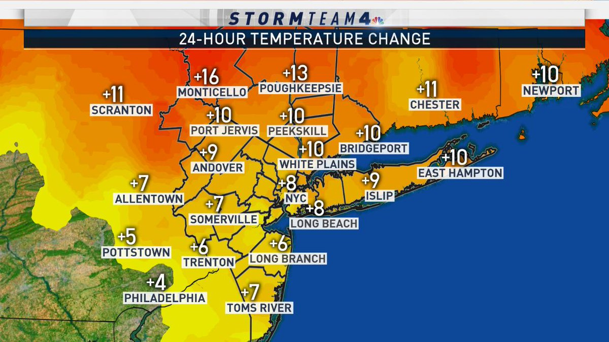 Clouds are breaking up & temps are on the rise... Most places still in the 30s right now, but it is still warmer than it was yesterday at the same time. Head to https://t.co/qm86foktT0 for the latest updates & the full forecast. #NBC4NY #NYwx #NJwx  #CTwx
