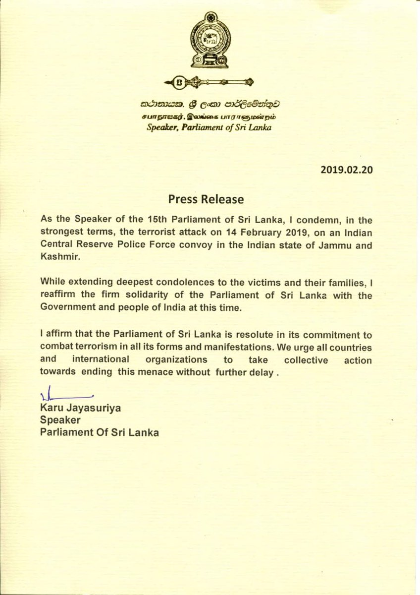 Speaker Karu Jayasuriya condemning the  #PulwamaAttack reaffirmed the solidarity of Sri Lankan Parliament with the people of #India and urged all countries to take collective action towards ending terrorism without further delay.  #lka