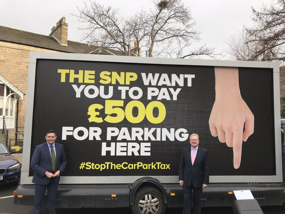 Tories with a truck claiming the SNP want you to pay a car park tax