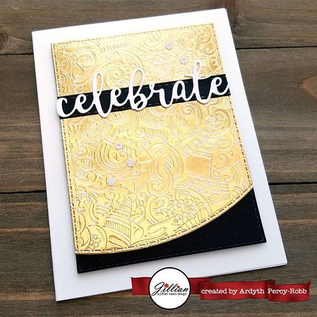 I am on the #ajillianvancedesign blog today with this card I made with an INKboss Inkpression plate and my #geminifoilpress  Perfect for a golden anniversary,  I think. #cardmaking #handmadecards #maskeradecards https://ift.tt/2EnF0yQ