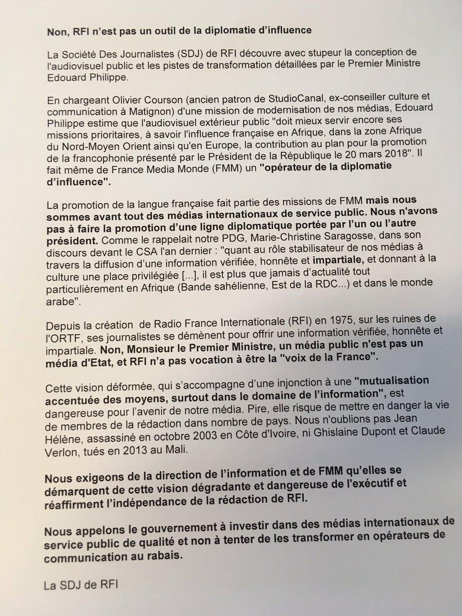 Mr le Premier Ministre, un média public n'est pas un média d'Etat, RFI n'a pas vocation à être «la voix de la France». Nous appelons le gouvernement à investir dans des médias internationaux de qualité et non à tenter de les transformer en opérateurs de communication au rabais.