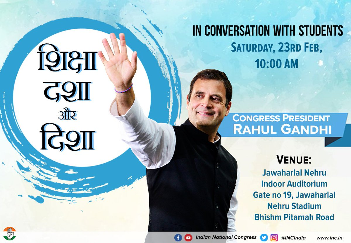 Congress President @RahulGandhi will be in conversation with students this coming Saturday. Stay tuned for more information & to watch him live follow our social media handles.   Facebook: https://www.facebook.com/IndianNationalCongress …  YouTube: https://www.youtube.com/user/indiacongress …