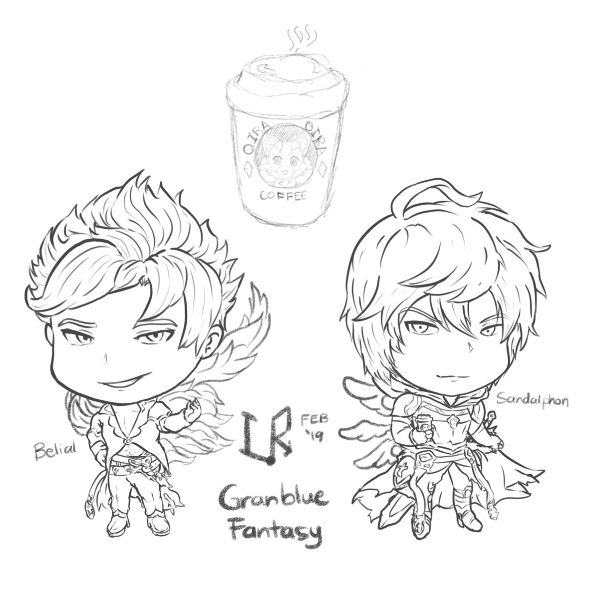 I drew the original sketch during the first run WMTSB II and only bothered to do proper lineart now. Never too late, I guess. Belial and Sandalphon. #GBF #GranblueFantasy <br>http://pic.twitter.com/VNUPGOYgL1