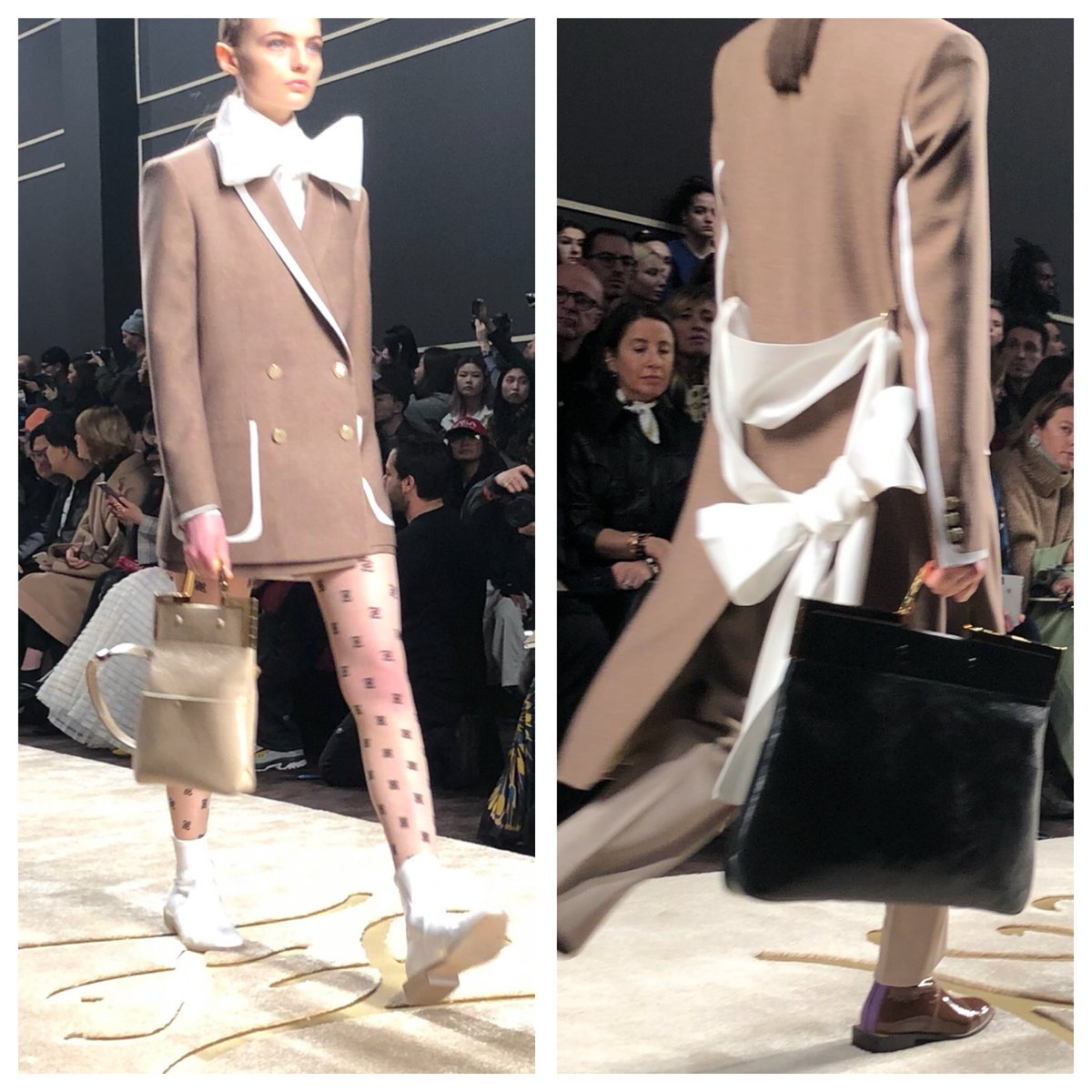 Big bows and beige suiting @fendi. Fancy that. #MFW