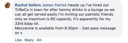 Hey, @TribecaBar1, by now you've been told that 'Tommy' fans intend to meet up at your bar this Saturday.   Allowing these people in will put your patrons, and the inhabitants of the village at risk. Don't do it.