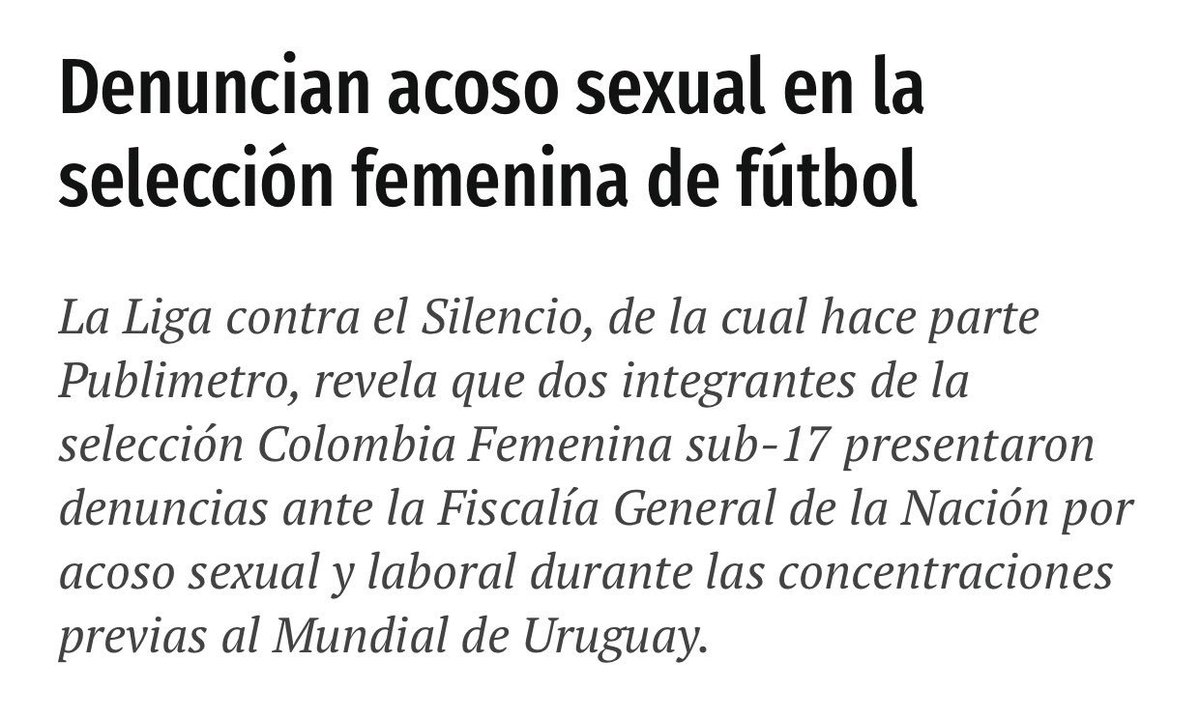 Denuncian acoso sexual en la selección femenina de fútbol colombiano.   ¡Esto tiene que parar!   https://www.publimetro.co/co/deportes/2019/02/20/denuncian-acoso-sexual-la-seleccion-femenina-futbol.html…