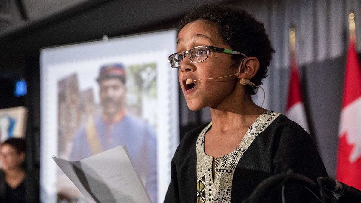 You're never too young to make a difference! At the age of only 9, Sébastien Cimpaye wowed the crowd at the 2017 Black History Month official launch with his stand-up and theatricial talents. #BHM2019 https://www.canada.ca/en/canadian-heritage/campaigns/black-history-month.html…