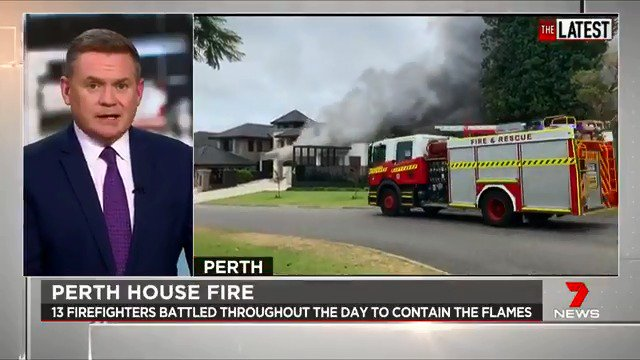 Firefighters have battled throughout the day to contain a massive house fire in Perth. Smoke was seen billowing from the home, and neighbours reported hearing an explosion at the home before the flames begun. #TheLatest  #7News