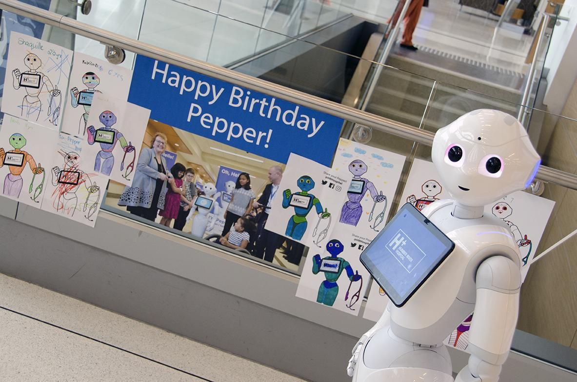 Wishing our #robot friend #Pepper a #HappyBirthday!   Many #kids from our #ChildLife program shared their art with Pepper for its birthday.