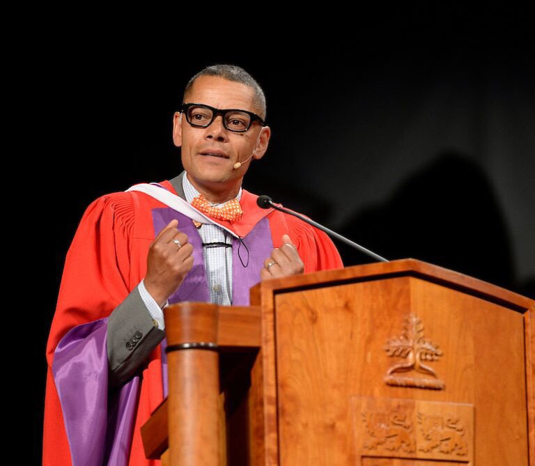 """Some #ThursdayThoughts from honorary degree recipient @MattGallowayCBC: """"Be an active listener, a vigorous listener, somebody who leans forward and wants to hear what other people are saying."""" #YorkU"""