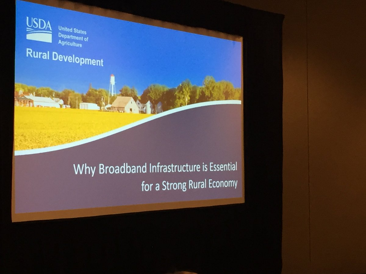 "Greetings from the #AgOutlook Forum in Arlington, Virginia. Senior Advisor to the Secretary of @USDA Jannine Miller is presenting ""Why Broadband Infrastructure is Essential for a Strong Rural Economy"". Learn more about USDA's broadband programs here: https://www.usda.gov/broadband"