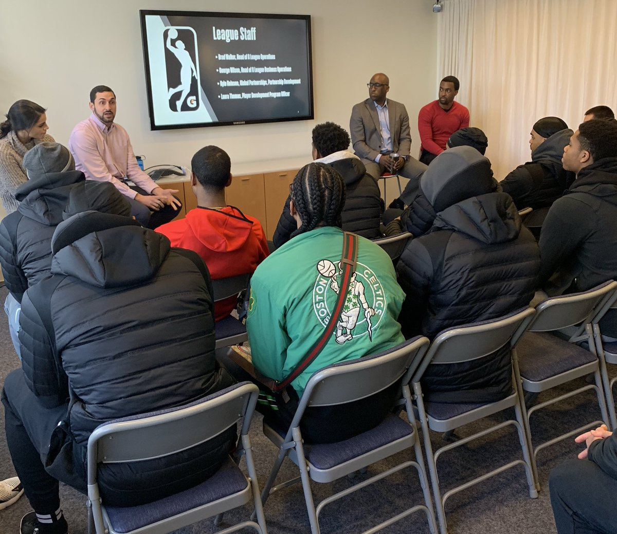 The @maineredclaws toured the @NBA office today in NYC, to learn about the ins & outs of the #NBAGLeague & #NBA!