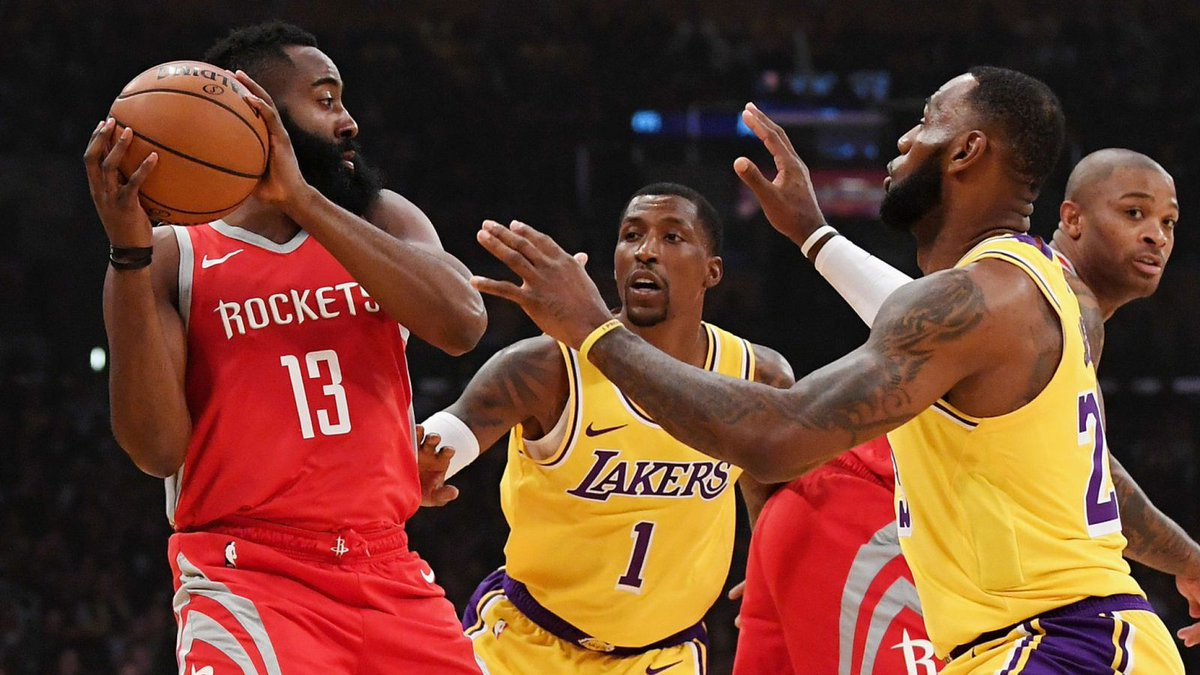 🏀 @KingJames v @JHarden13   Watch Houston Rockets @ Los Angeles Lakers live on Sky Sports Arena in the early hours of Friday morning (3:30am)  More: http://skysports.tv/QpsBUL