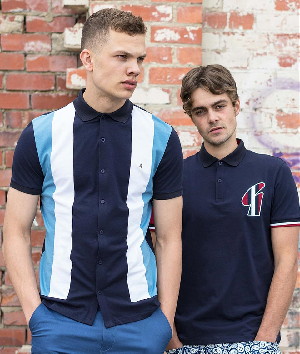 d12690c2ee1 Gabicci Vintage vertical stripe button up polos available in black   navy    https