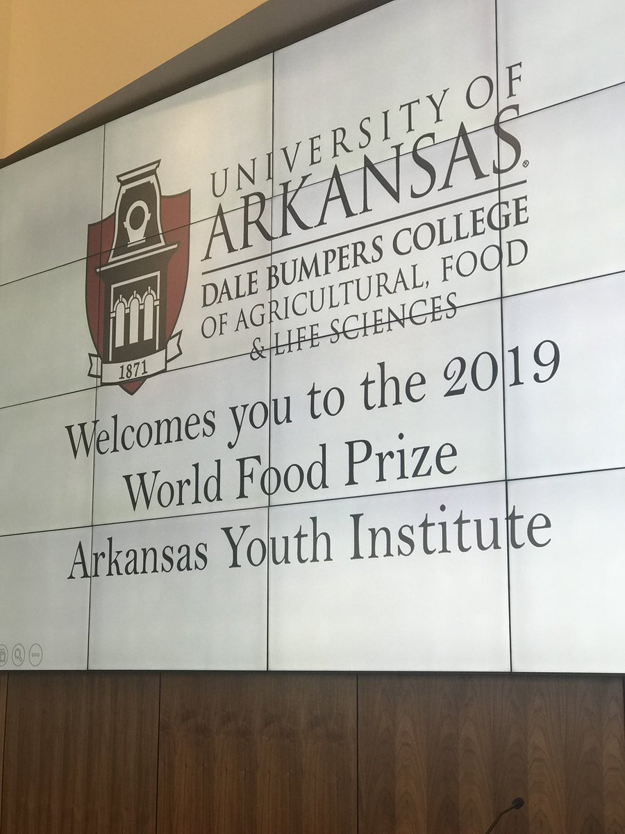 Members participating in the World Food Prize Arkansas Youth Institute today at the University of Arkansas!  #HungerFighters @bumperscollege @ARCareerEd