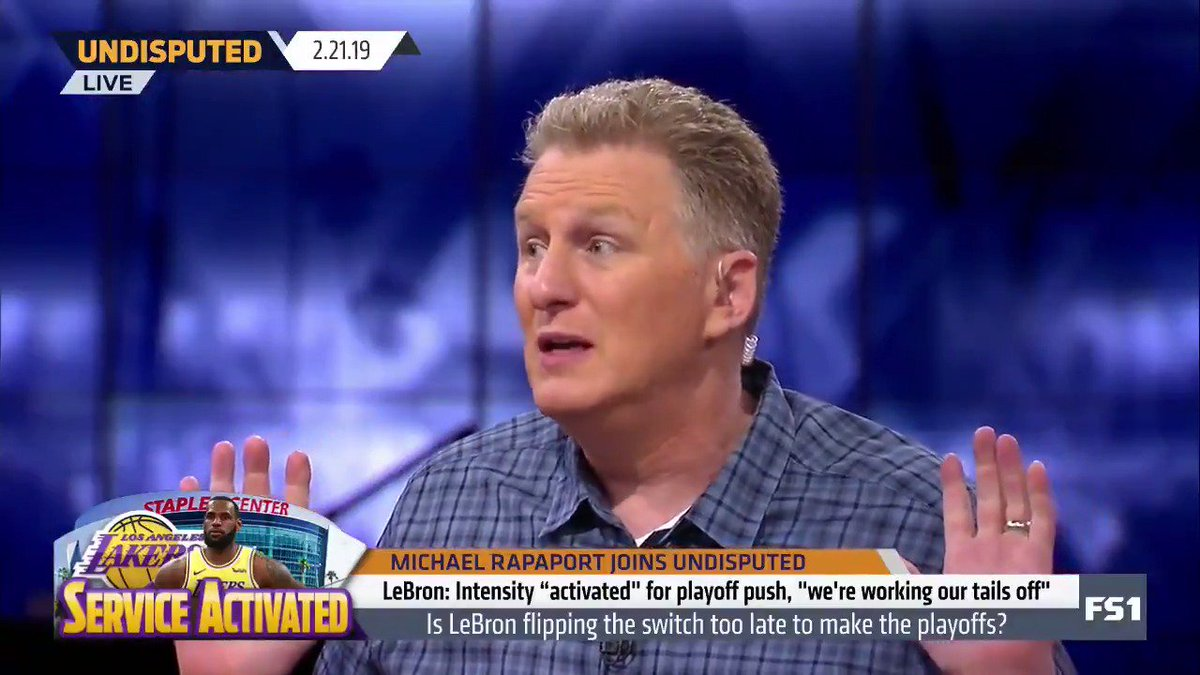 """""""[LeBron's] going to get punched in the mouth tonight by the Houston Rockets. Once they take that first loss, and it's going to be tonight, who's to blame? This Los Angeles Lakers team is in trouble. ... James Harden is going to go for like a cool 60."""" — @MichaelRapaport"""