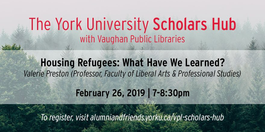 """We have some space left! Register for Vaughan Scholars Hub on Feb. 26. This session, titled """"Housing Refugees: What Have We Learned?"""" is part of of our series 'Environmental Changes.' Learn more & register: http://alumniandfriends.yorku.ca/vpl-scholars-hub/… @vaughanpl #YorkUAlumni #yorku @EnvironmentYork"""