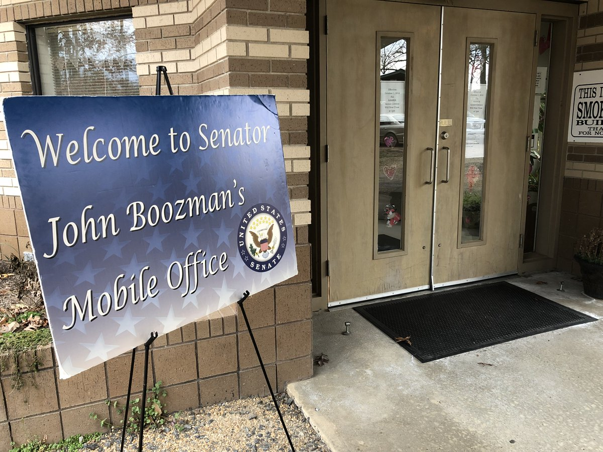 My staff is hosting two mobile offices today  - Sheridan from 9-11am - Huntsville from 10am-2pm  Let my team offer our assistance with any issues you might be having with the federal government. Visit the link below or contact us for more details.  https://www.boozman.senate.gov/public/index.cfm/mobile-office-hours…