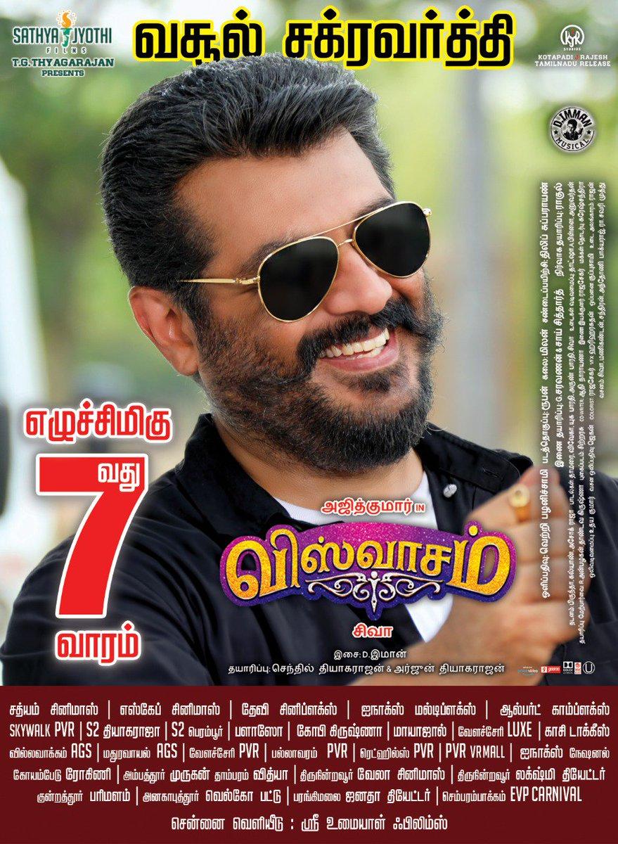 #Viswasam enters super successful 7th week, 110 theatres in Tamil Nadu.   @directorsiva @SureshChandraa @vetrivisuals @dhilipaction @AntonyLRuben @immancomposer @DoneChannel1