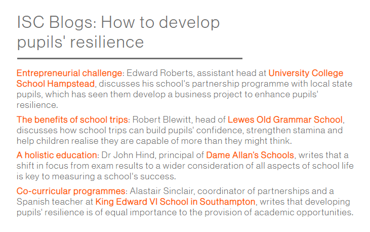 Following the education secretary's plan to develop pupils' character & resilience, several school leaders & teachers have written blogs discussing various ways this can be achieved https://www.isc.co.uk/media-enquiries/isc-blogs/…