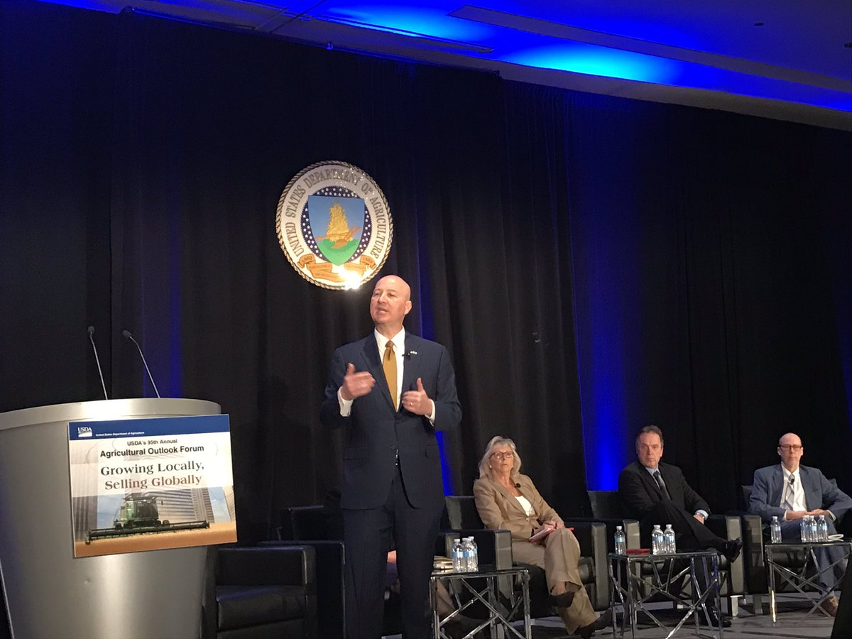 "#AgOutlook: Nebraska @GovRicketts, ""agriculture accounts for 1 in 4 jobs in my state. If we're going to grow the state of Nebraska, we need to grow agriculture"""
