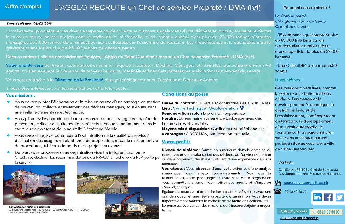 🔎L'@AggloStQuentin recrute un chef de service propreté / DMA : agglo-saintquentinois.fr/engagee/l-aggl…#Emploi #Job #Recrutement #AggloRecrute #AggloSaintQuentinois https://t.co/Abp1rKv0Cu
