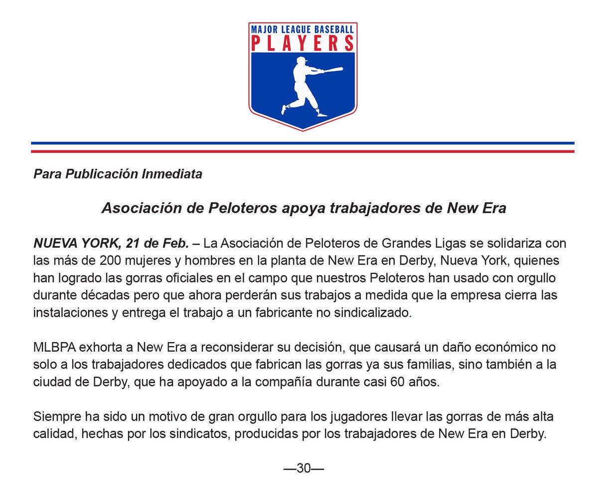 MLBPA CommunicationsVerified account  MLBPA News. Players Association  stands by New Era ... 699c3c645d1