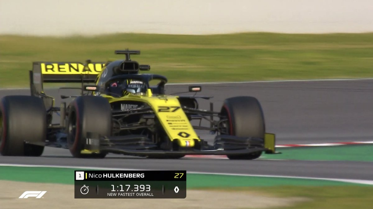 Hulk Smash! Hülkenberg sets the fastest time of pre-season testing so far with a 1:17.393 on C5 (the softest) tyres