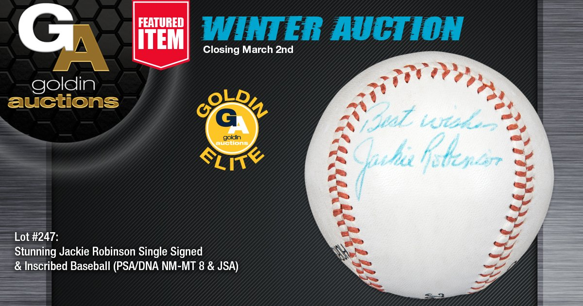 #JackieRobinson has signed a panel of this Japanese-made orange stitching Colby Tommy Holmes League ball. Ball is in pristine condition with the blue ballpoint of @baseballhall @Dodgers Jackie's signature. Comes with a LOA from @PSAcard, graded a NM-MT 8 and a LOA from @JSALOA.