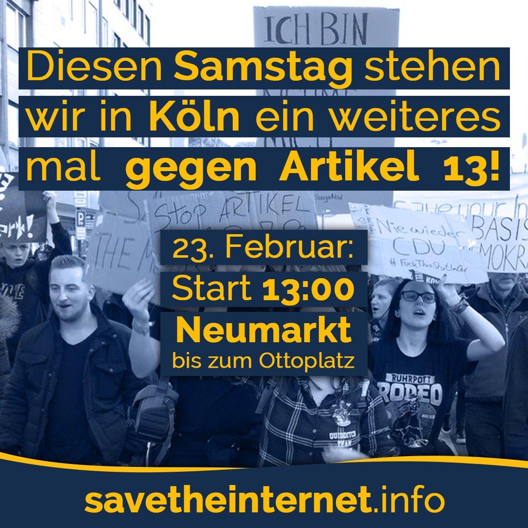 Diesen Samstag startet eine #Artikel13Demo in #Köln! Wir sind vor Ort und versuchen wieder viele Fragen zu beantworten. #savetheinternet #artikel13 #Artikel11 #saveyourinternet