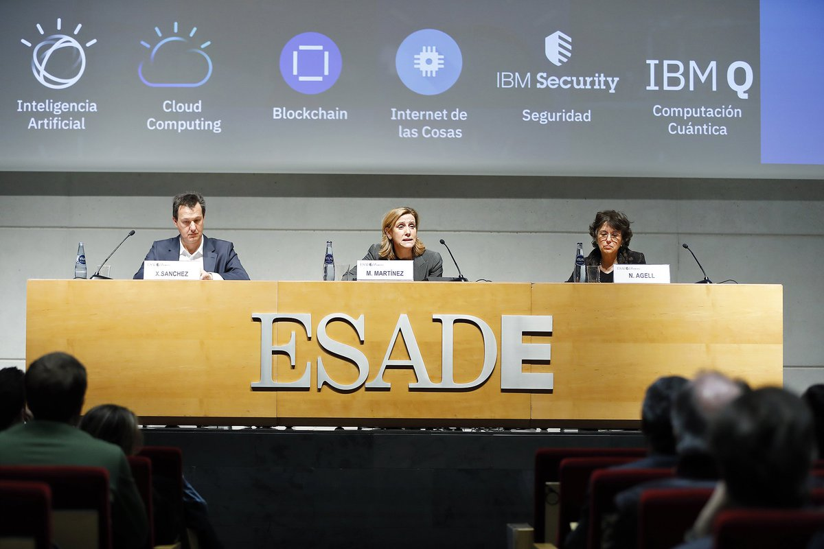 """The #AI age is not the age of machine intelligence; it's the age of our own intelligence amplified by technological capabilities"". Marta Martínez, General Manager of @IBM_ES, discussed the new era revolving around technology at #MatinsESADE: https://esade.me/2GCUuRx  @ESADEAlumni"