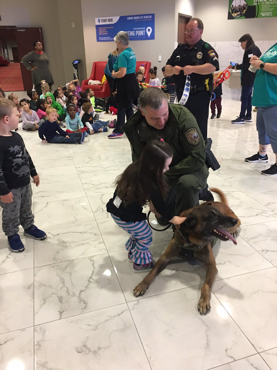 K9 Team Officer Montee and Bullet enjoying the best kind of attention! This is the Mother's Day Out event at @crossroads_tx. @GPPD_K9_Unit
