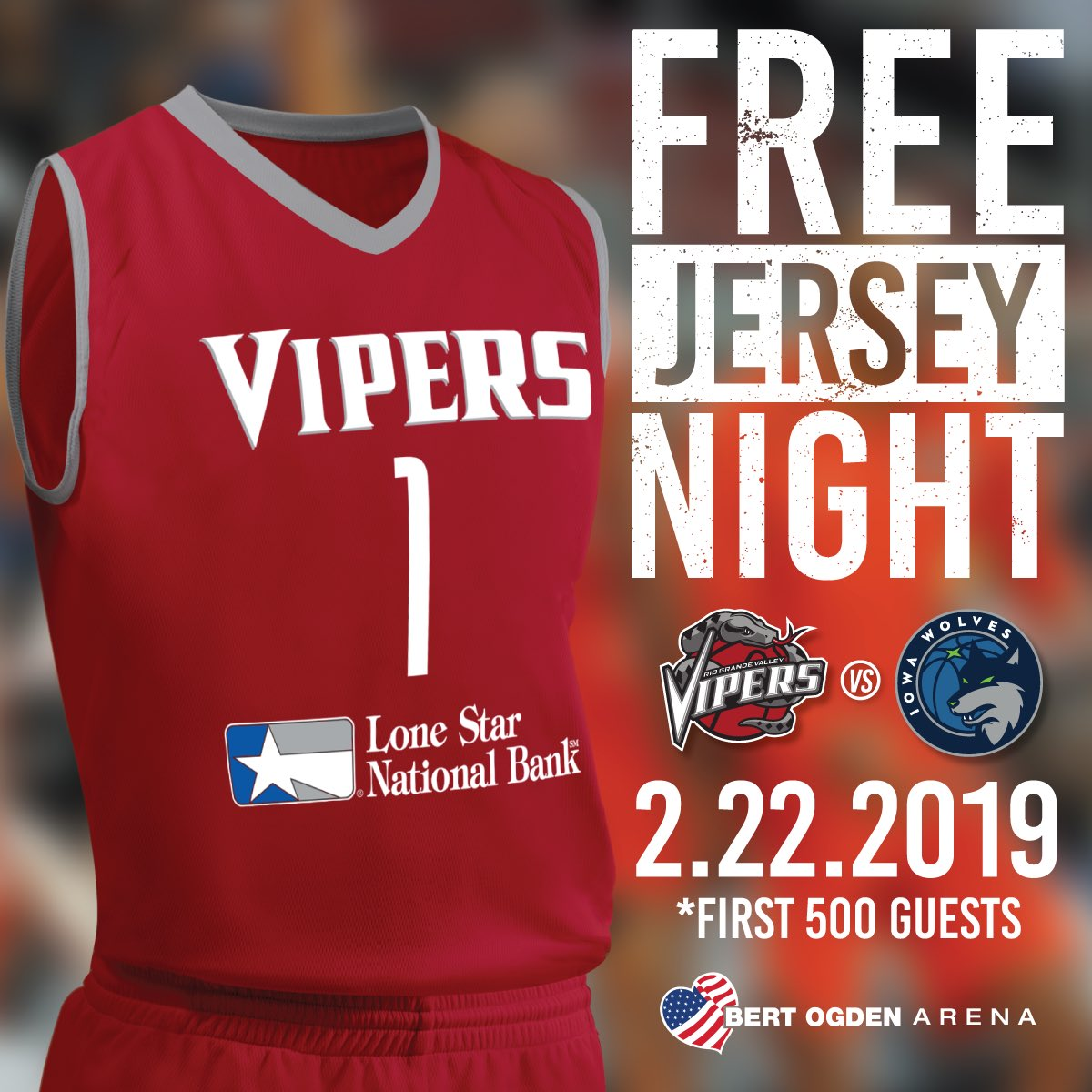 TOMORROW Friday, February 22nd the first 500 guests to come to the Bert Ogden Arena (ticket holders only)will get a FREE REPLICA VIPERS JERSEY!  Sponsored by @lsnbank  Visit our box office or website http://rgvipers.com to purchase your tickets! #NBAGLeague #RGVVipers