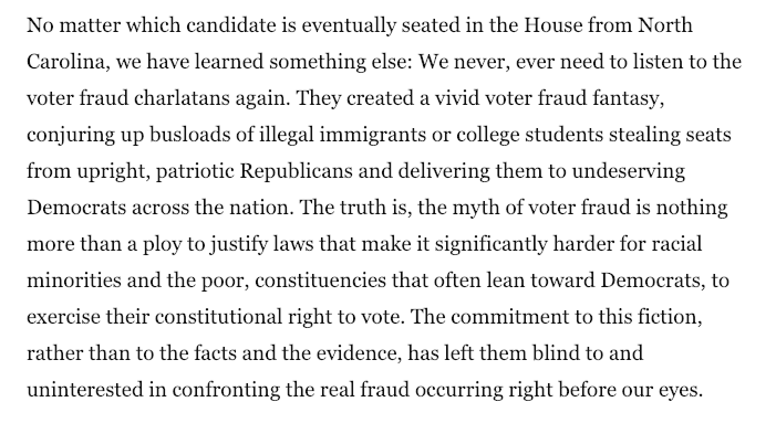 Brutal op-ed from Maine Secretary of State Matthew Dunlap on the Voter Fraud Squad's silence over blatant election fraud in NC.   Dunlap was a member of the Trump/Kobach voter fraud commission who sued, successfully, after getting iced out. https://t.co/uJ3y14dOfQ h/t  @rickhasen