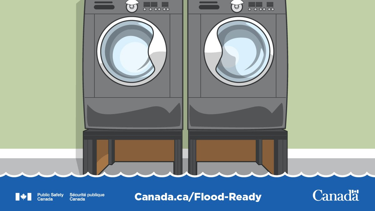 Is your basement #FloodReady? Raise large appliances off the ground to help prevent them from tipping over in a flood:   ⬆️HVAC Components ⬆️Washer & Dryer ⬆️Water Heater   Get more tips to be #FloodReady: http://www.Canada.ca/Flood-Ready