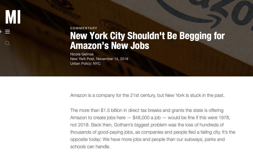 Back in November when the Amazon/NYC deal was first announced, most conservative commentary on it was negative.
