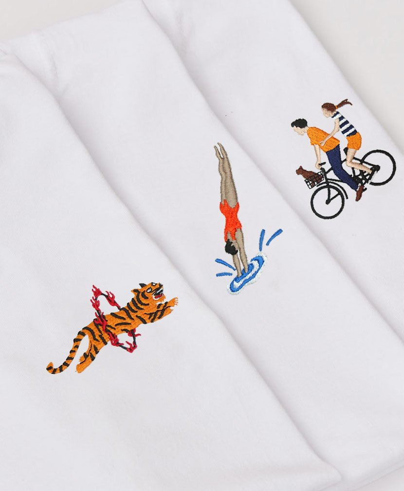 NEW EMBROIDERIES NOW LIVE 👕 Join us on the Percival Boardwalk 🚲🐯🏊🏻♂️ 🌭💦🌞 percivalclo.com/collections/je…