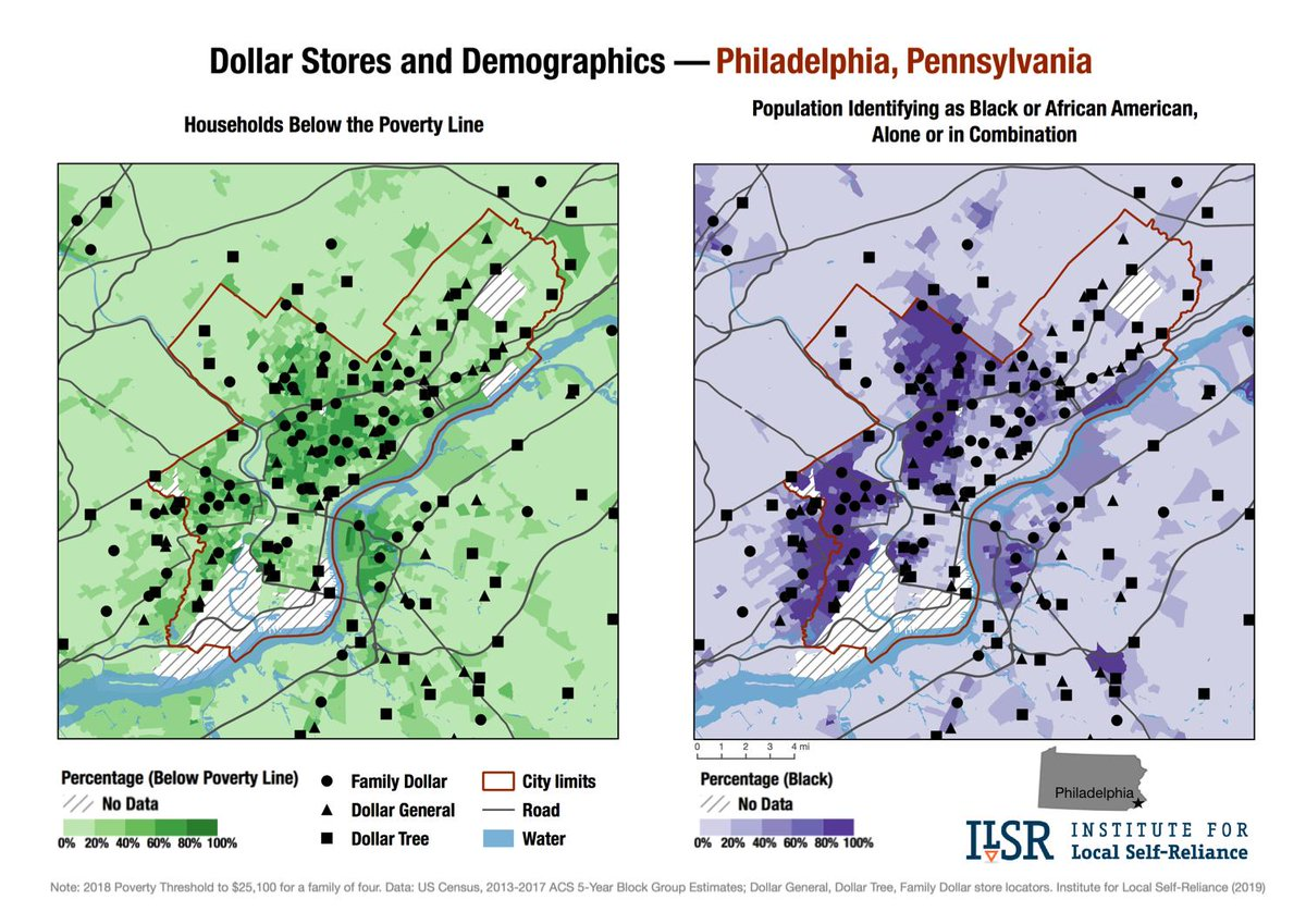 Wow — Family Dollar, Dollar General, and Dollar Tree have opened 106 outlets in Philadelphia.     https:// ilsr.org/new-maps-dolla r-stores-spread/ &nbsp; … <br>http://pic.twitter.com/wtG9bqanYn