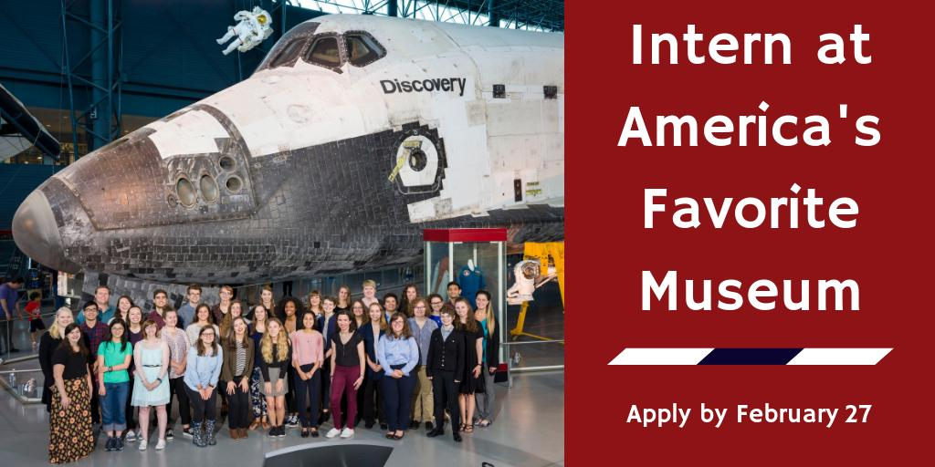 College students: join us for a summer of exciting projects and professional development. And space puns, of course. 'Cause interning at Air and Space is out of this world. 🚀 Apply by February 27:  https://t.co/NddArVfrAF