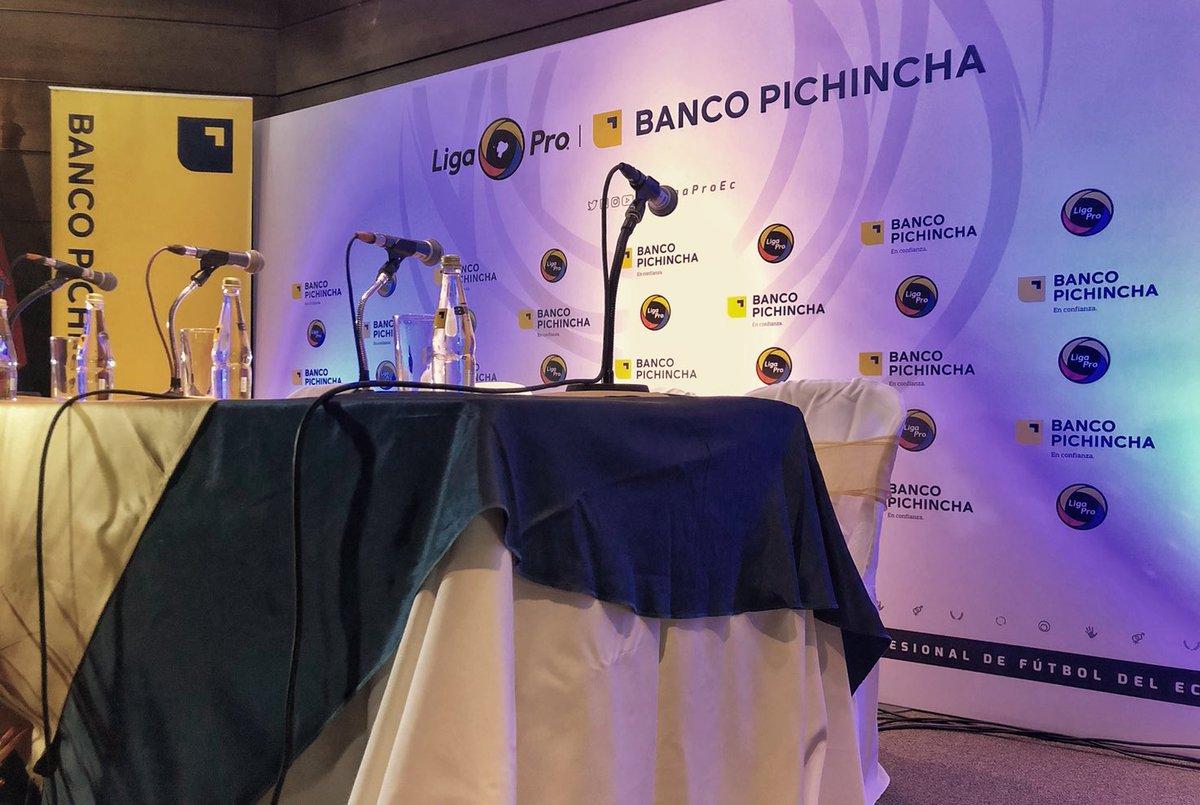En minutos inicia la rueda de prensa  #LigaProBancoPichincha en el Auditorio de la Matriz @BancoPichincha  Quito. 🇪🇨🤝⚽️