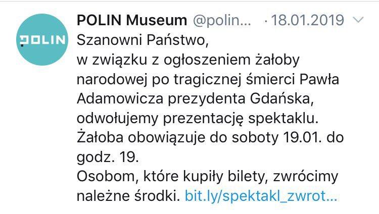 Oto @polinmuseum w pełnej krasie!  Gdy była żałoba po śmierci Adamowicza odwołali wydarzenie, gdy cała Polska czciła pamięć Jana Olszewskiego, muzyka w POLIN grała - wstydliwe i haniebne.  Nawet nie zachowują pozorów.