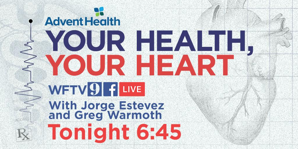 Are you doing everything you can do to keep your heart healthy? What are the warning signs that something could be wrong? Join @JEstevezWFTV, @GWarmothWFTV and @FloridaHospital TONIGHT for a Facebook Live event that could keep your heart in chechttps://t.co/bS10RDdUtvk!