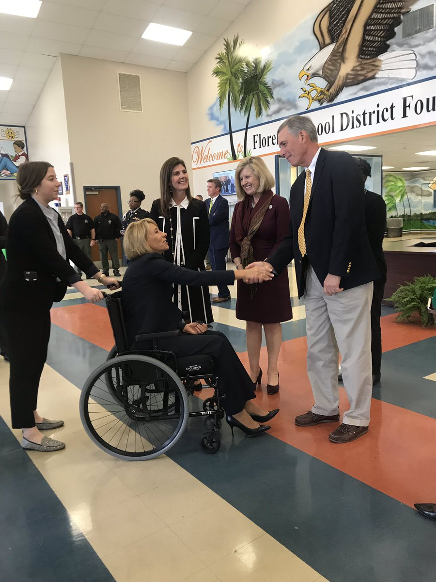 Great to bring @BetsyDeVosED to Timmonsville this morning to visit with students and teachers, followed by an important discussion on education initiatives that put #studentsfirst!