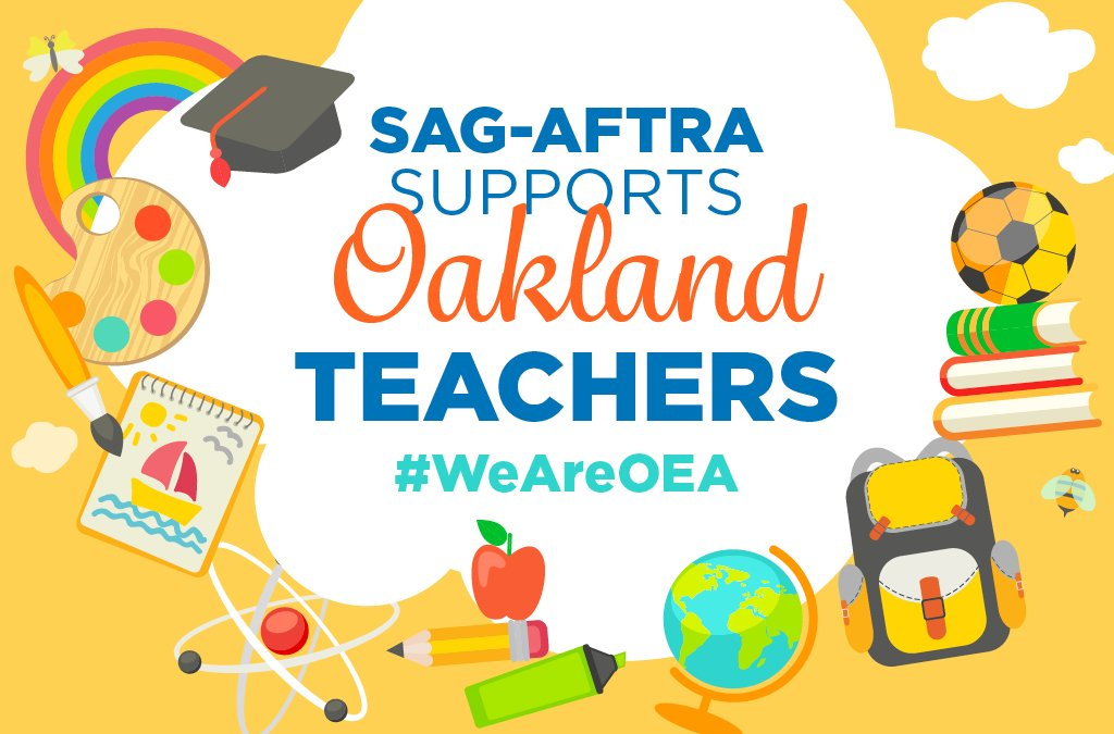 SAG-AFTRA stands in solidarity with Oakland educators. They deserve living wages, smaller class sizes and more support for students. #Solidarity #UnionStrong #WeAreOEA #Unite4OaklandKids