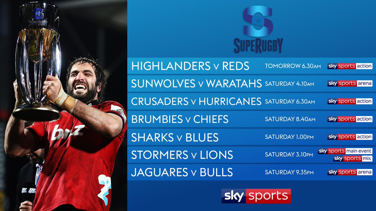 test Twitter Media - 🏉 After six away wins in the opening round @SuperRugby continues tomorrow.  Seven live games from the competition on @SkySports this week starting with @Highlanders against @Reds_Rugby from 6.30am on Sky Sports Action.  👇 Round two details 👇 https://t.co/w87vcVRUyK
