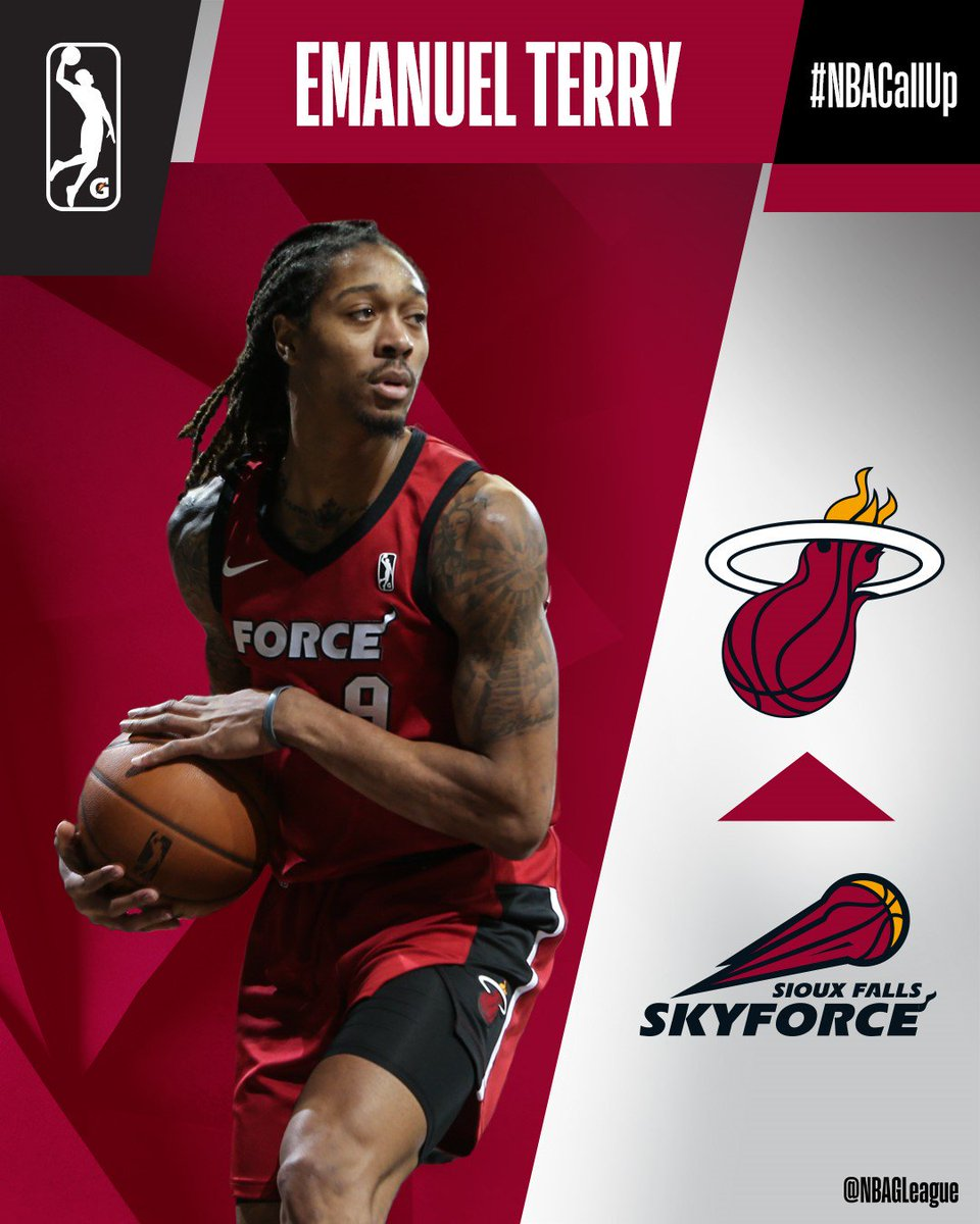 Congrats to @EmanuelTerry08 on his #NBACallUp from the @SFSkyforce to the @MiamiHEAT... his second this season!   Terry was a D-II All-American with @LMURailsplitter, averaging 10.7 PTS & 7.2 REB during his #NBAGLeague rookie year.