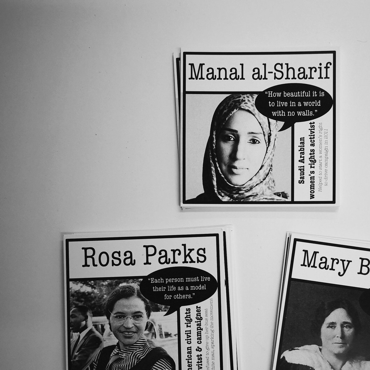 Rosa Parks, Manal al-Sharif and Mary Barbour cards with info and a quote about each