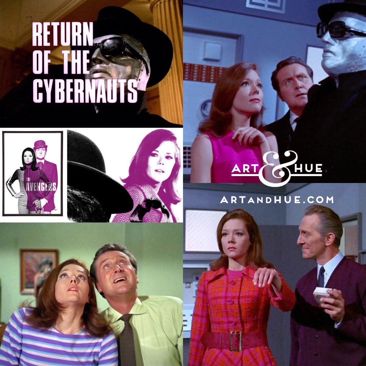 """On this day in 1968, The Avengers episode """"Return of the Cybernauts"""" aired in the USA.   http://artandhue.com/theavengers   #OnThisDay #OTD #dianarigg #mrspeel #patrickmacnee #johnsteed #EmmaPeel #TheAvengers #PeterCushing #ReturnOfTheCybernauts #CultTV #Cybernauts #TheCybernauts"""