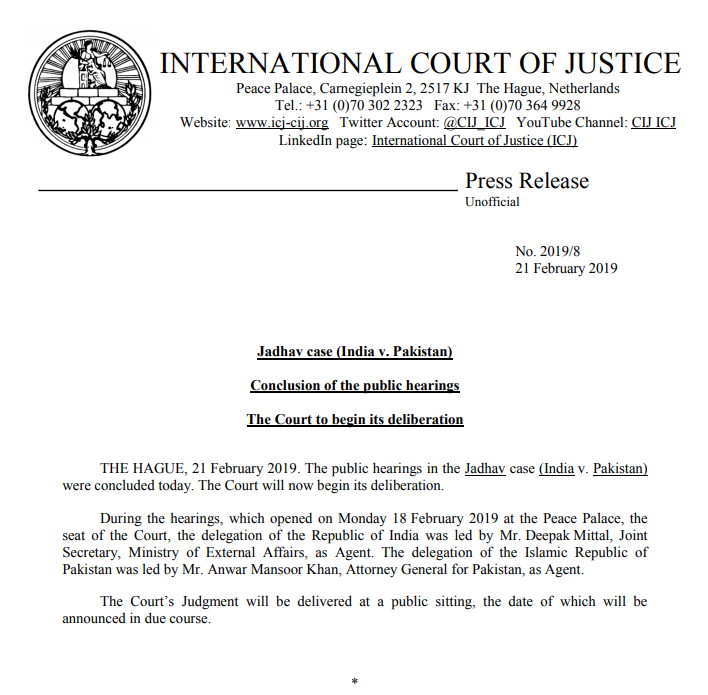 PRESS RELEASE: conclusion of the public hearings in the Jadhav case (#India v. #Pakistan) before the #ICJ https://bit.ly/2Nka31b